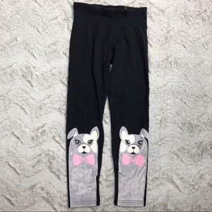 Justice • Girls Black Puppy Dog Leggings